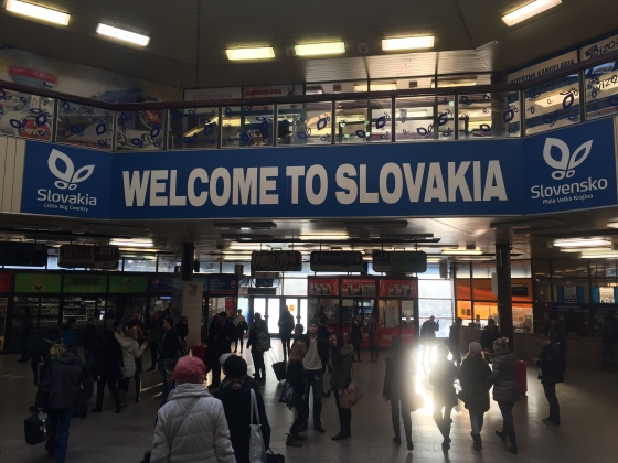 We arrived by train from Budapest. This sign greeted us in the train station.